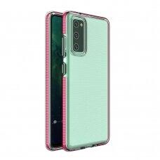Dėklas Spring Case clear TPU su spalvotu rėmeliu Samsung Galaxy A02s Rožinis