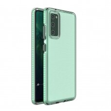 Skaidrus TPU dėklas su spalvotu rėmu Spring Case Samsung Galaxy A02s mėtiniais kraštais