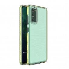 Skaidrus TPU dėklas su spalvotu rėmu Spring Case Samsung Galaxy A02s geltonais kraštais