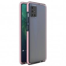 Spring Case Skaidrus Tpu Dėklas Su Spalvotu Rėmu Samsung Galaxy A21S Šviesiai Rožinis