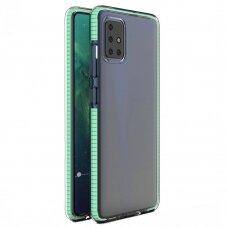 Spring Case Skaidrus Tpu Dėklas Su Spalvotu Rėmu Samsung Galaxy A21S Mėtinis