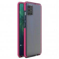 Spring Case Skaidrus Tpu Dėklas Su Spalvotu Rėmu Samsung Galaxy A21S Rožinis