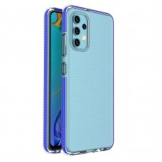 Dėklas Spring Case clear TPU su spalvotu krašteliu Samsung Galaxy A32 4G Tamsiai mėlynas