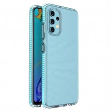Dėklas Spring Case clear TPU su spalvotu krašteliu Samsung Galaxy A32 4G Šviesiai mėlynas