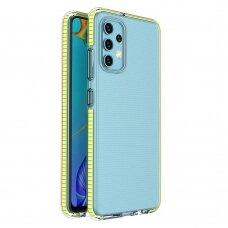 Dėklas Spring Case clear TPU su spalvotu krašteliu Samsung Galaxy A32 4G Geltonas
