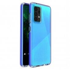 Dėklas Spring Case clear TPU su spalvotu kraštu Samsung Galaxy A52/ A52s Tamsiai mėlynas
