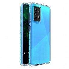 Dėklas Spring Case clear TPU su spalvotu kraštu Samsung Galaxy A52/ A52s Šviesiai mėlynas