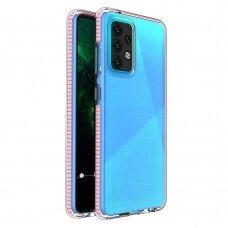 Dėklas Spring Case clear TPU su spalvotu kraštu Samsung Galaxy A52/ A52s Šviesiai rožinis
