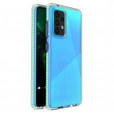 Dėklas Spring Case clear TPU su spalvotu kraštu Samsung Galaxy A52/ A52s Mėtinis