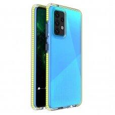 Dėklas Spring Case clear TPU su spalvotu kraštu Samsung Galaxy A52/ A52s Geltonas