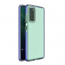 Dėklas Spring Case clear TPU su spalvotu rėmu Samsung Galaxy A72 4G Tamsiai mėlynas
