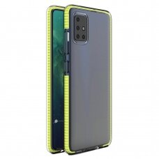 Spring Case Clear Tpu Gel Protective Cover With Colorful Frame skirta Xiaomi Redmi Note 9 Pro / Redmi Note 9S Geltonas
