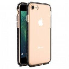 """SKAIDRUS TPU DĖKLAS SU SPALVOTU RĖMU """"SPRING CASE"""" iPhone 11 juodas"""