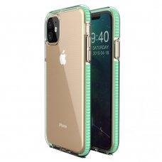 """SKAIDRUS TPU DĖKLAS SU SPALVOTU RĖMU """"SPRING CASE"""" iPhone 11 mėtinis"""