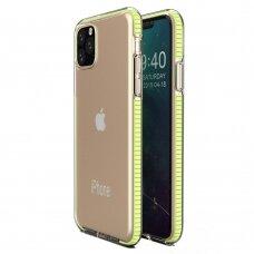 """SKAIDRUS TPU DĖKLAS SU SPALVOTU RĖMU """"SPRING CASE"""" iPhone 11 Pro geltonas"""