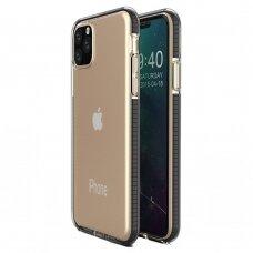"""""""SPRING CASE"""" SKAIDRUS TPU DĖKLAS SU SPALVOTU RĖMU iPhone 11 Pro juodas (ctz009)"""
