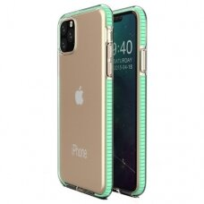 """SKAIDRUS TPU DĖKLAS SU SPALVOTU RĖMU """"SPRING CASE"""" iPhone 11 Pro Max mėtinis"""