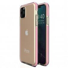 """""""SPRING CASE"""" SKAIDRUS TPU DĖKLAS SU SPALVOTU RĖMU iPhone 11 Pro Max šviesiai rožinis (ctz008) USC056"""