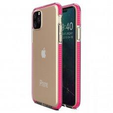 """""""SPRING CASE"""" SKAIDRUS TPU DĖKLAS SU SPALVOTU RĖMU iPhone 11 Pro Max rožinis (ctz008) USC056"""