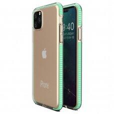 """SKAIDRUS TPU DĖKLAS SU SPALVOTU RĖMU """"SPRING CASE"""" iPhone 11 Pro mėtinis"""