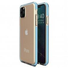 """SKAIDRUS TPU DĖKLAS SU SPALVOTU RĖMU """"SPRING CASE"""" iPhone 11 Pro žydras"""