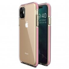 """""""SPRING CASE"""" SKAIDRUS TPU DĖKLAS SU SPALVOTU RĖMU iPhone 11 šviesiai rožinis (ctz010)"""