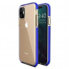 """""""SPRING CASE"""" SKAIDRUS TPU DĖKLAS SU SPALVOTU RĖMU iPhone 11 tamsiai mėlynas (ctz010)"""