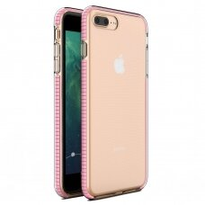 """""""SPRING CASE"""" SKAIDRUS TPU DĖKLAS SU SPALVOTU RĖMU iPhone 8 Plus / iPhone 7 Plus šviesiai rožinis (ctz013) UCS063"""