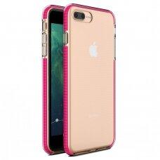 """""""SPRING CASE"""" SKAIDRUS TPU DĖKLAS SU SPALVOTU RĖMU iPhone 8 Plus / iPhone 7 Plus ryškiai rožinis (ctz013) UCS063"""