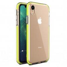 """""""SPRING CASE"""" SKAIDRUS TPU DĖKLAS SU SPALVOTU RĖMU iPhone XR geltonas (ctz013) USC061"""