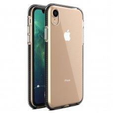 """""""SPRING CASE"""" SKAIDRUS TPU DĖKLAS SU SPALVOTU RĖMU iPhone XR juodas (ctz013)"""