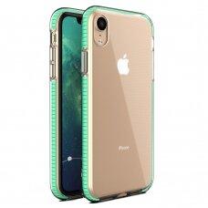 """""""SPRING CASE"""" SKAIDRUS TPU DĖKLAS SU SPALVOTU RĖMU iPhone XR mėtinis (ctz013) USC061"""