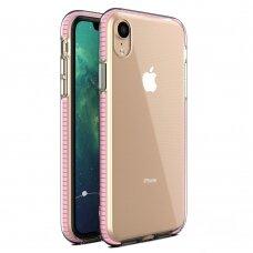 """""""SPRING CASE"""" SKAIDRUS TPU DĖKLAS SU SPALVOTU RĖMU iPhone XR šviesiai rožinis (ctz013) USC061"""