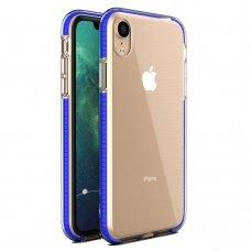 """""""SPRING CASE"""" SKAIDRUS TPU DĖKLAS SU SPALVOTU RĖMU iPhone XR tamsiai mėlynas (ctz013) USC061"""