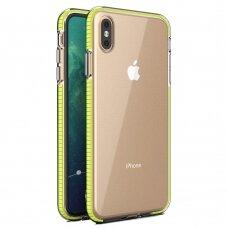"""SKAIDRUS TPU DĖKLAS SU SPALVOTU RĖMU """"SPRING CASE"""" iPhone XS / iPhone X geltonas"""