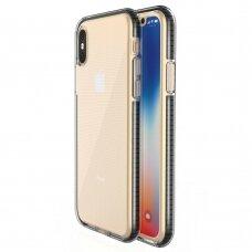 """SKAIDRUS TPU DĖKLAS SU SPALVOTU RĖMU """"SPRING CASE"""" iPhone XS / iPhone X juodas"""