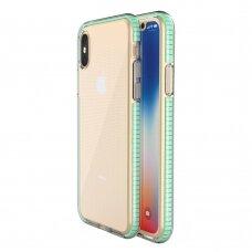 """SKAIDRUS TPU DĖKLAS SU SPALVOTU RĖMU """"SPRING CASE"""" iPhone XS / iPhone X mėtinis"""