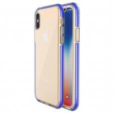 """SKAIDRUS TPU DĖKLAS SU SPALVOTU RĖMU """"SPRING CASE"""" iPhone XS / iPhone X tamsiai mėlynas"""