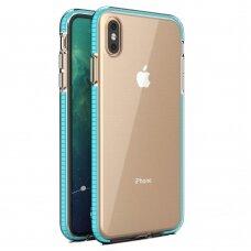 """""""SPRING CASE"""" SKAIDRUS TPU DĖKLAS SU SPALVOTU RĖMU iPhone XS / iPhone X žydras (ctz013) USC060"""