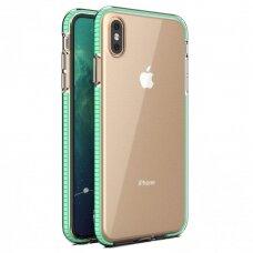"""""""SPRING CASE"""" SKAIDRUS TPU DĖKLAS SU SPALVOTU RĖMU iPhone XS Max mėtinis (ctz013)"""