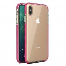"""""""SPRING CASE"""" SKAIDRUS TPU DĖKLAS SU SPALVOTU RĖMU iPhone XS Max šviesiai rožinis (ctz013)"""