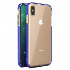 """""""SPRING CASE"""" SKAIDRUS TPU DĖKLAS SU SPALVOTU RĖMU iPhone XS Max tamsiai mėlynas (ctz013)"""