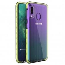 """""""SPRING CASE"""" SKAIDRUS TPU DĖKLAS SU SPALVOTU RĖMU Samsung Galaxy A20e geltonas (ctz220) UCS033"""