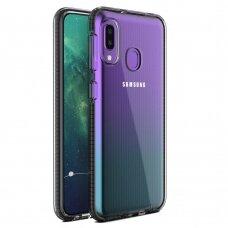 """""""SPRING CASE"""" SKAIDRUS TPU DĖKLAS SU SPALVOTU RĖMU Samsung Galaxy A20e juodas (ctz220) UCS033"""