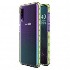 """SKAIDRUS TPU DĖKLAS SU SPALVOTU RĖMU """"SPRING CASE"""" Samsung Galaxy A40 geltonas"""
