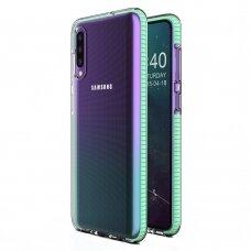 """SKAIDRUS TPU DĖKLAS SU SPALVOTU RĖMU """"SPRING CASE"""" Samsung Galaxy A40 mėtinis"""
