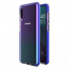 """SKAIDRUS TPU DĖKLAS SU SPALVOTU RĖMU """"SPRING CASE"""" Samsung Galaxy A40 tamsiai mėlynas"""