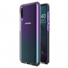 """SKAIDRUS TPU DĖKLAS SU SPALVOTU RĖMU """"SPRING CASE"""" Samsung Galaxy A50 juodas"""