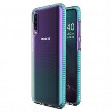 """SPRING CASE"" SKAIDRUS TPU DĖKLAS SU SPALVOTU RĖMU Samsung Galaxy A50 žydras (ctz007) UCS031"