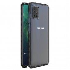 """""""SPRING CASE"""" SKAIDRUS TPU DĖKLAS SU SPALVOTU RĖMU Samsung Galaxy A51 juodas (ctz006) UCS025"""